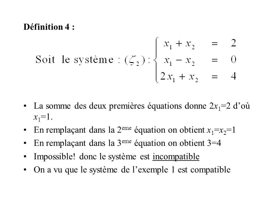 Définition 4 : La somme des deux premières équations donne 2x 1 =2 doù x 1 =1. En remplaçant dans la 2 eme équation on obtient x 1 =x 2 =1 En remplaça
