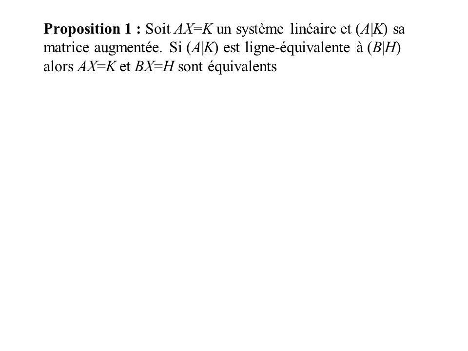 Proposition 1 : Soit AX=K un système linéaire et (A|K) sa matrice augmentée. Si (A|K) est ligne-équivalente à (B|H) alors AX=K et BX=H sont équivalent