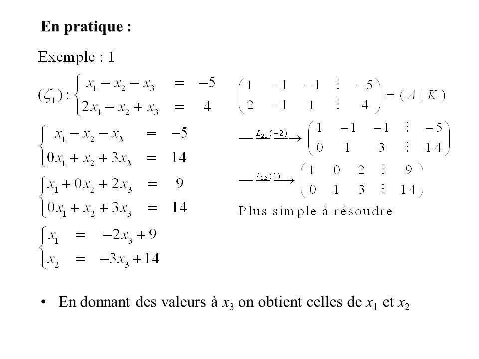 En pratique : En donnant des valeurs à x 3 on obtient celles de x 1 et x 2