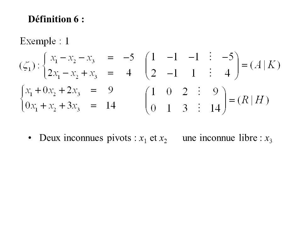Définition 6 : Deux inconnues pivots : x 1 et x 2 une inconnue libre : x 3