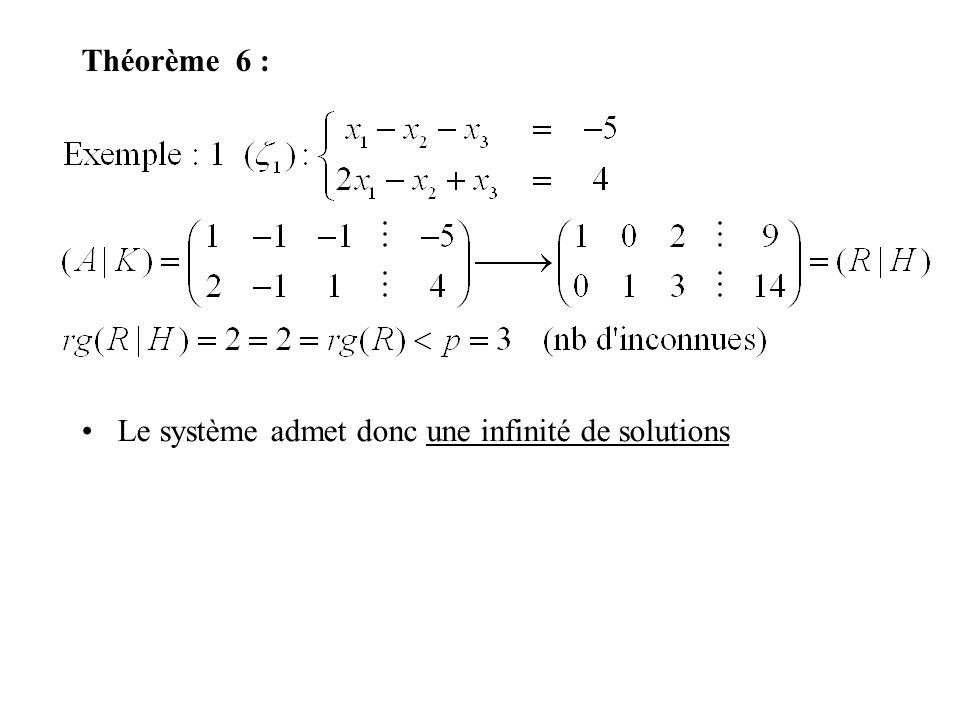 Théorème 6 : Le système admet donc une infinité de solutions