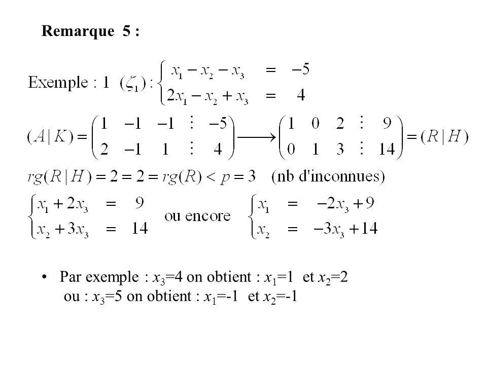 Remarque 5 : Par exemple : x 3 =4 on obtient : x 1 =1 et x 2 =2 ou : x 3 =5 on obtient : x 1 =-1 et x 2 =-1