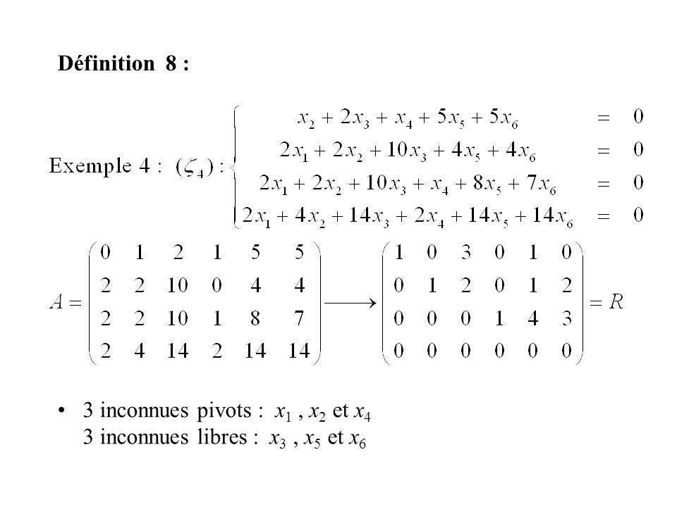 Définition 8 : 3 inconnues pivots : x 1, x 2 et x 4 3 inconnues libres : x 3, x 5 et x 6