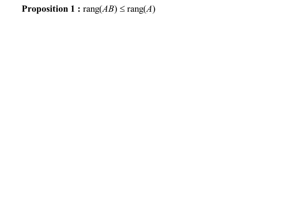 Exemple : Proposition 1 : Si B est inversible alors rang(AB) = rang(A)