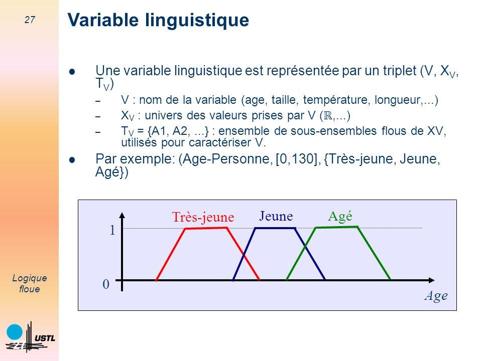 27 Logique floue 27 Une variable linguistique est représentée par un triplet (V, X V, T V ) – V : nom de la variable (age, taille, température, longue