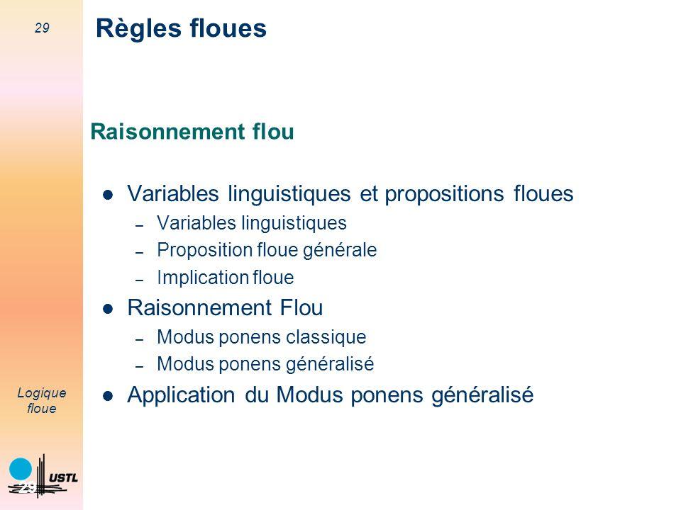 29 Logique floue 29 Raisonnement flou Variables linguistiques et propositions floues – Variables linguistiques – Proposition floue générale – Implicat