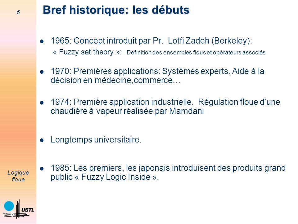 6 Logique floue 6 Bref historique: les débuts 1965: Concept introduit par Pr. Lotfi Zadeh (Berkeley): « Fuzzy set theory »: Définition des ensembles f
