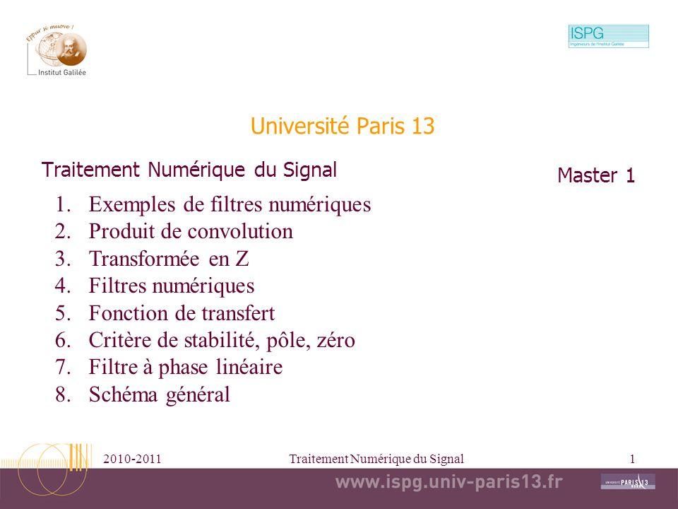 2010-2011Traitement Numérique du Signal1 Université Paris 13 Traitement Numérique du Signal Master 1 1.Exemples de filtres numériques 2.Produit de con