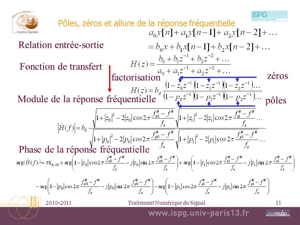 2010-2011Traitement Numérique du Signal11 Pôles, zéros et allure de la réponse fréquentielle Relation entrée-sortie Fonction de transfert factorisatio