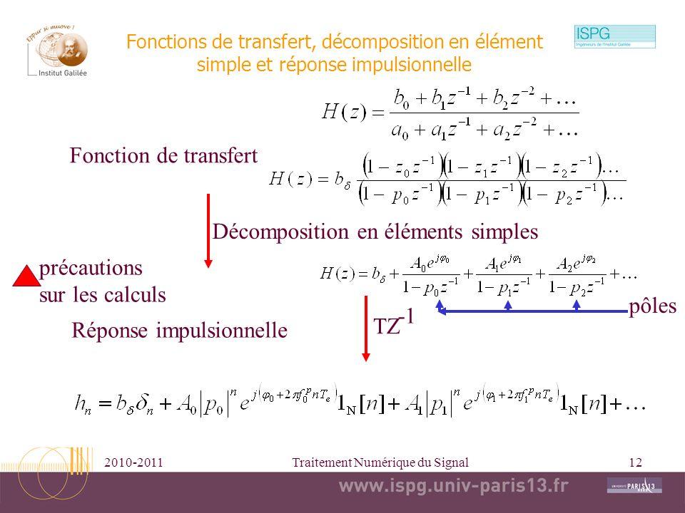 2010-2011Traitement Numérique du Signal12 Fonctions de transfert, décomposition en élément simple et réponse impulsionnelle Fonction de transfert Déco