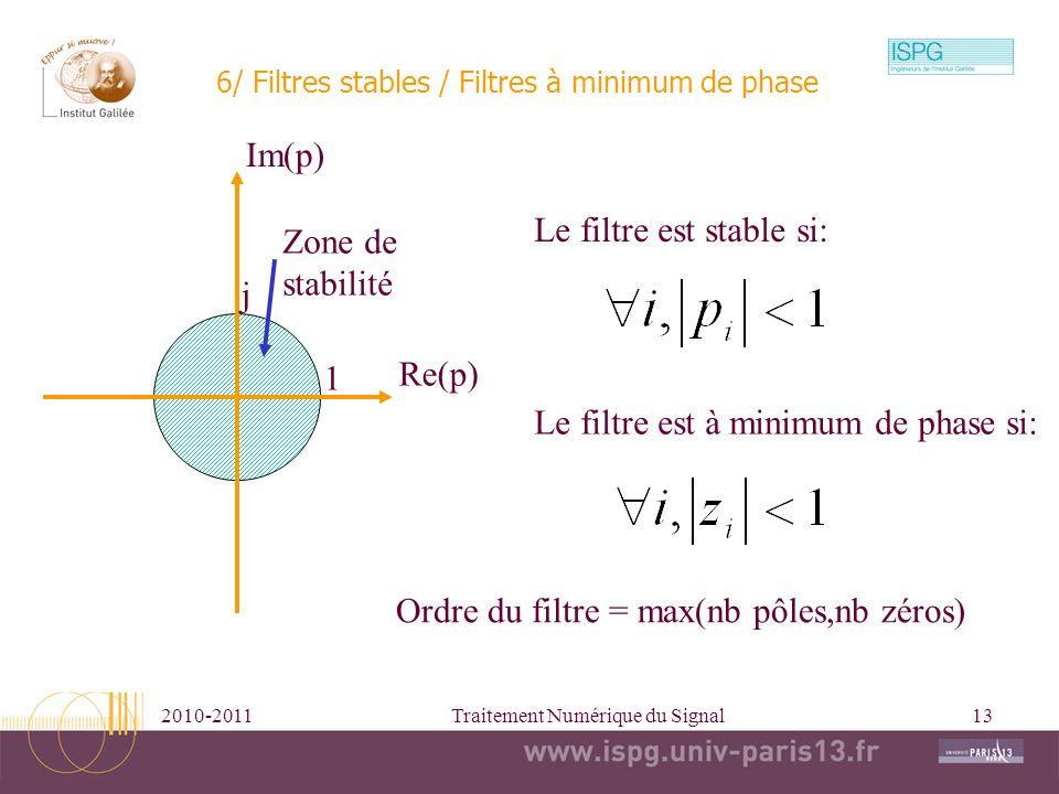 2010-2011Traitement Numérique du Signal13 6/ Filtres stables / Filtres à minimum de phase Le filtre est stable si: Le filtre est à minimum de phase si