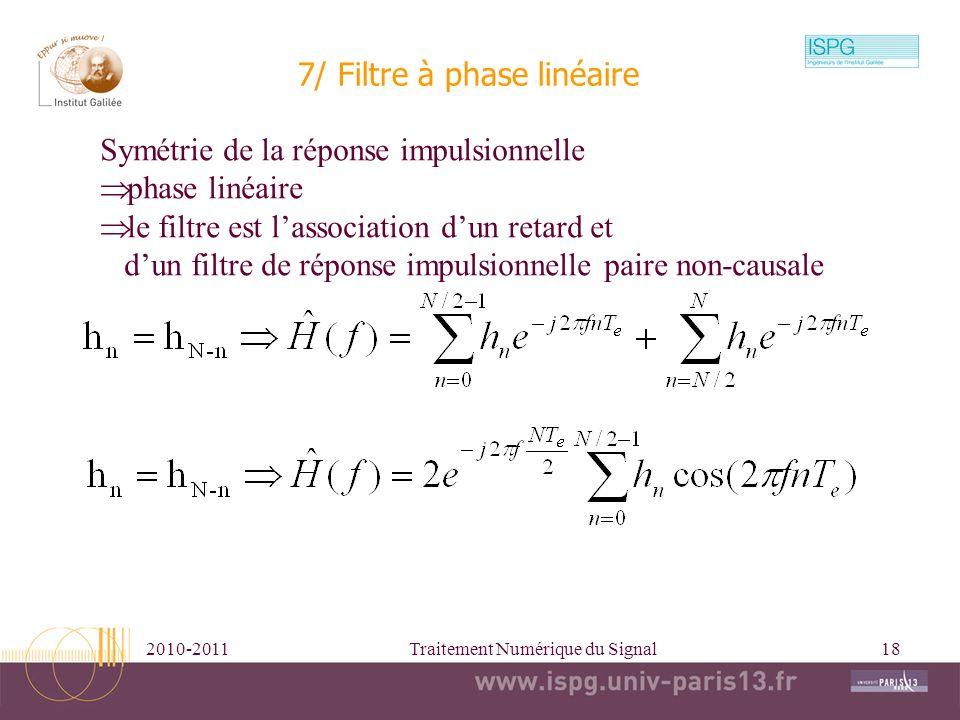 2010-2011Traitement Numérique du Signal18 7/ Filtre à phase linéaire Symétrie de la réponse impulsionnelle phase linéaire le filtre est lassociation d