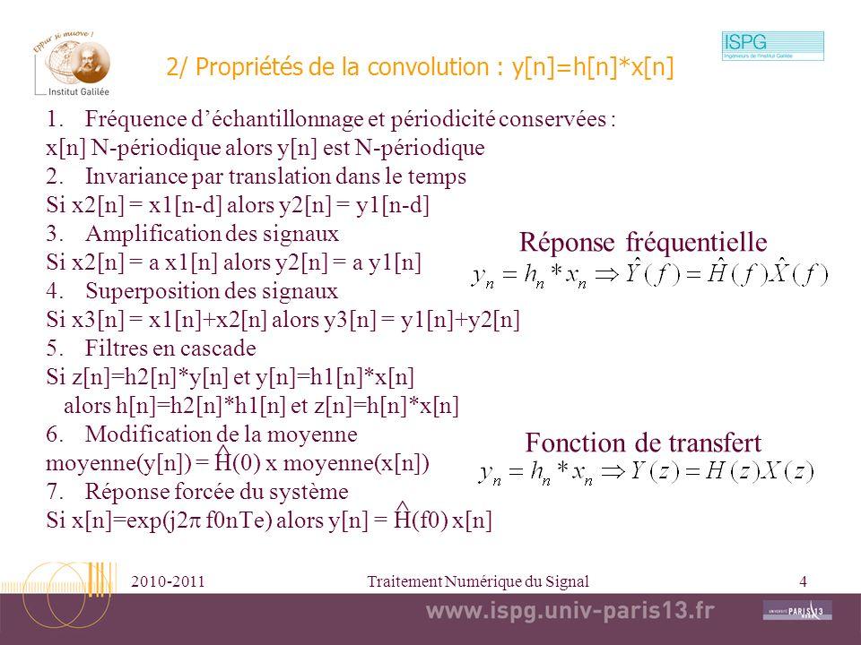 2010-2011Traitement Numérique du Signal4 2/ Propriétés de la convolution : y[n]=h[n]*x[n] 1.Fréquence déchantillonnage et périodicité conservées : x[n