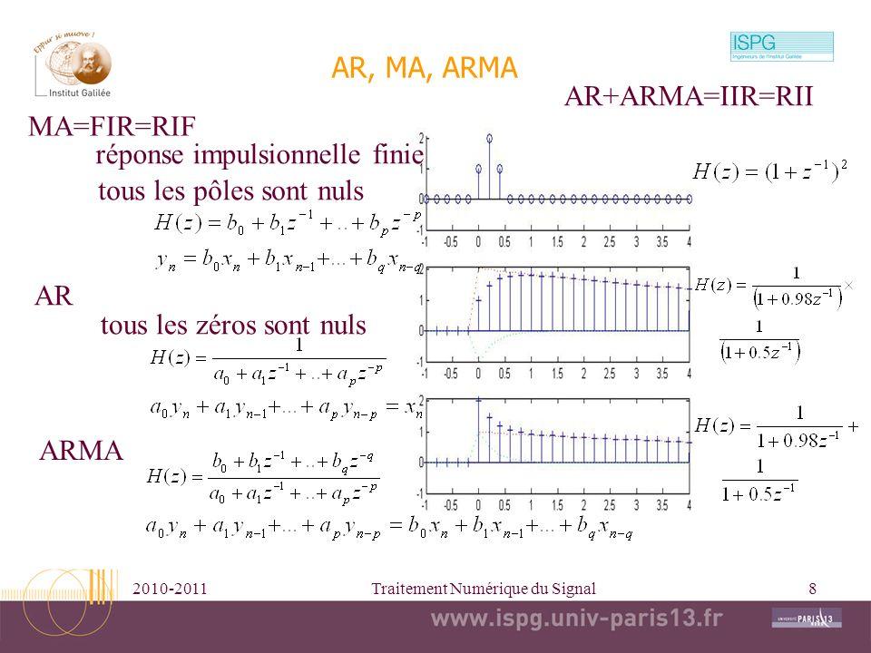 2010-2011Traitement Numérique du Signal8 tous les pôles sont nuls AR, MA, ARMA MA=FIR=RIF réponse impulsionnelle finie AR tous les zéros sont nuls ARM