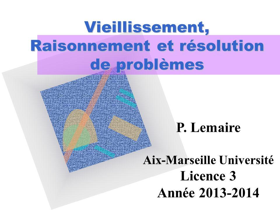 Tâche des suites numériques (Salthouse & Prill, 87) Problème facile: 19-22-25-28-31-____ Problème moyennement facile: 63-91-65-94-67-____ Problème difficile: 84-66-52-42-36-____