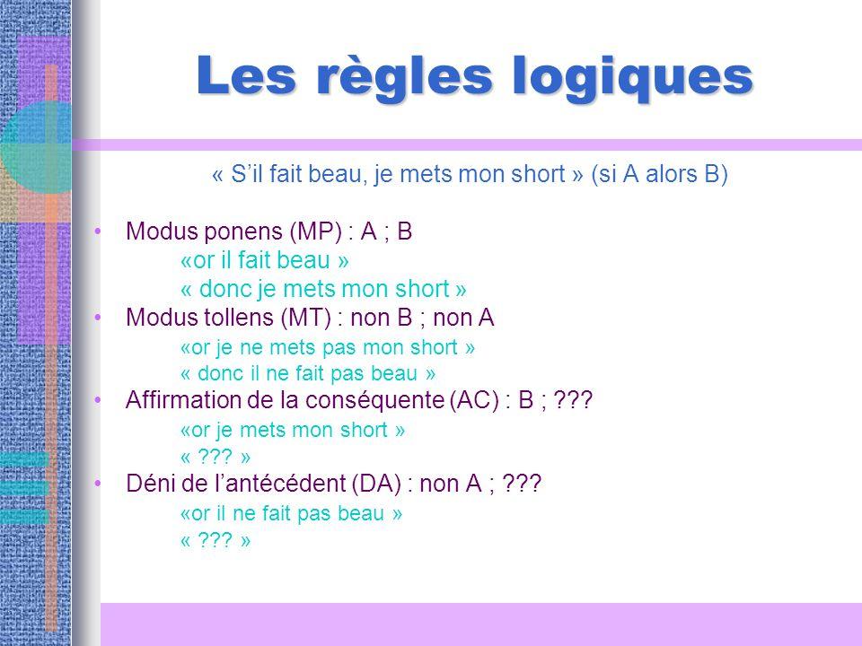 Les règles logiques « Sil fait beau, je mets mon short » (si A alors B) Modus ponens (MP) : A ; B «or il fait beau » « donc je mets mon short » Modus