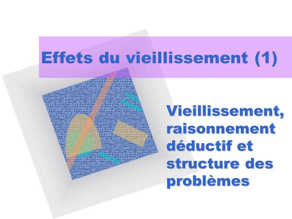 Vieillissement, raisonnement déductif et structure des problèmes Effets du vieillissement (1)