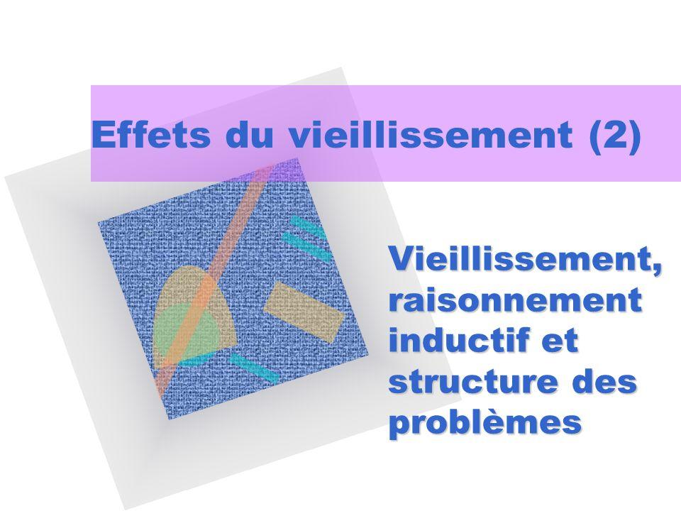 Vieillissement, raisonnement inductif et structure des problèmes Effets du vieillissement (2)