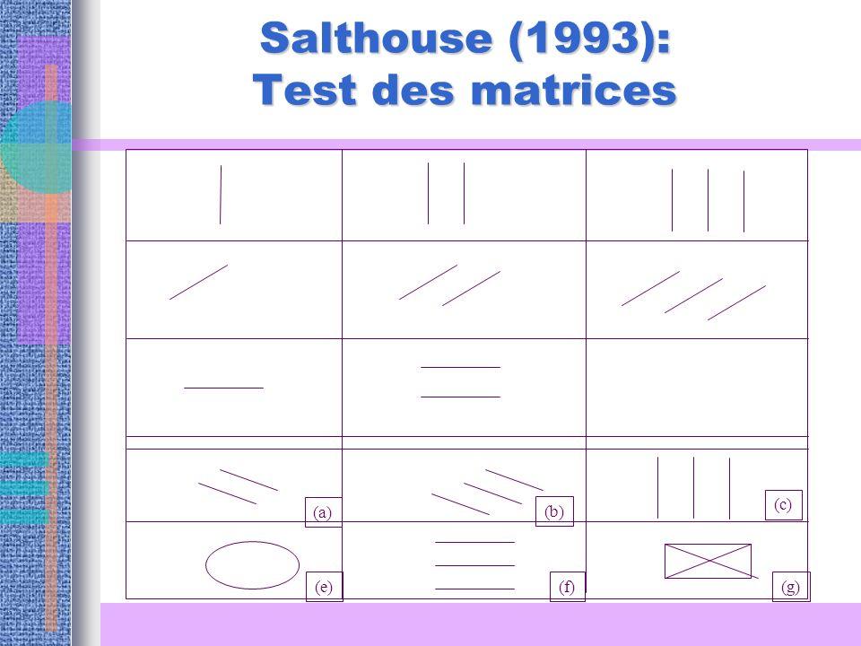 Salthouse (1993): Test des matrices (a) (b) (c) (e)(f)(g)