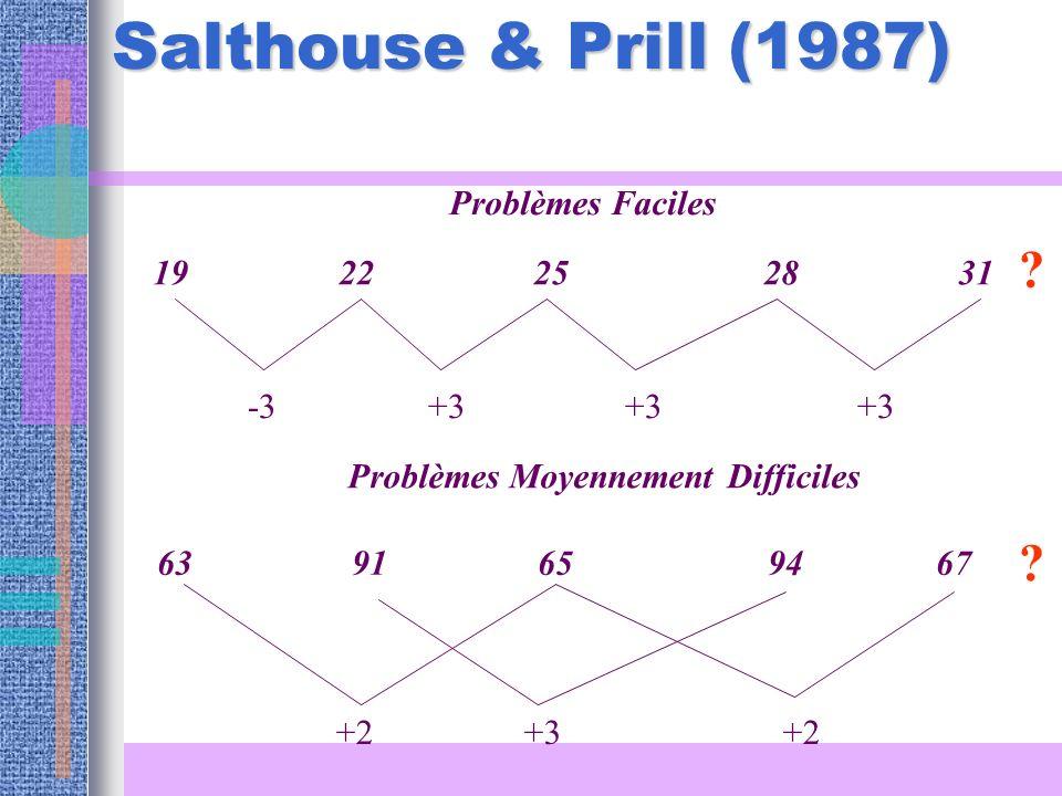 Salthouse & Prill (1987) 19 22 25 28 31 -3 +3 +3 +3 Problèmes Faciles 63 91 65 94 67 +2 +3 +2 Problèmes Moyennement Difficiles ? ?