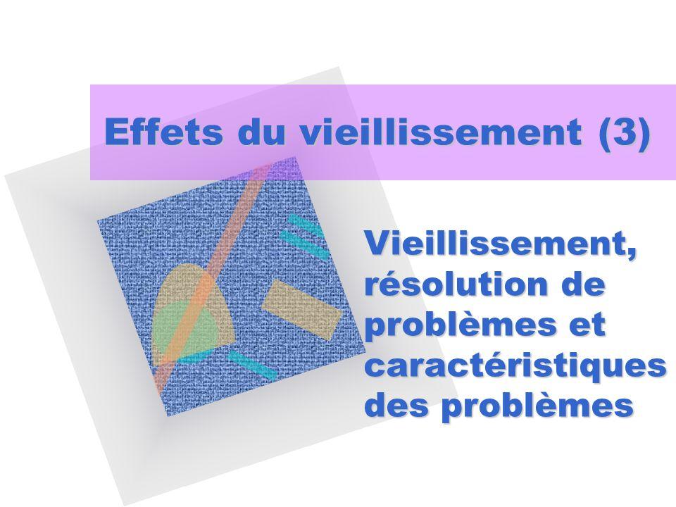 Effets du vieillissement (3) Vieillissement, résolution de problèmes et caractéristiques des problèmes