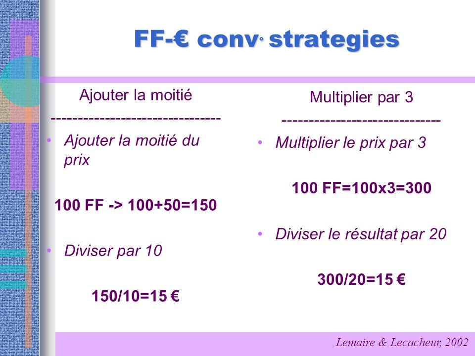 FF- conv ° strategies Ajouter la moitié -------------------------------- Ajouter la moitié du prix 100 FF -> 100+50=150 Diviser par 10 150/10=15 Multi