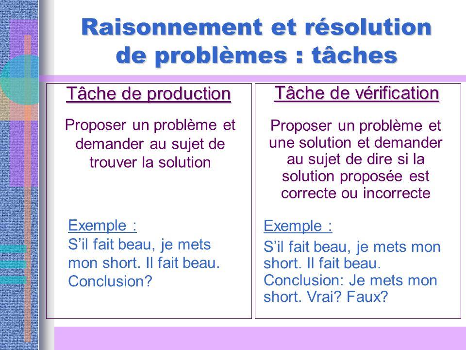Raisonnement et résolution de problèmes : tâches Tâche de production Tâche de vérification Proposer un problème et demander au sujet de trouver la sol
