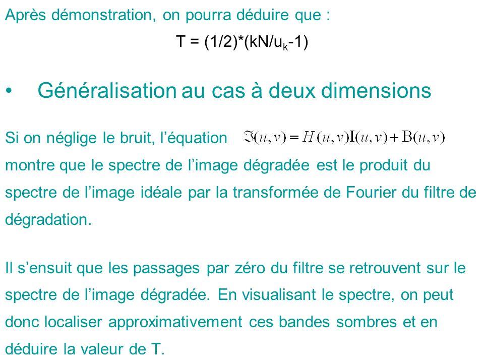 Après démonstration, on pourra déduire que : T = (1/2)*(kN/u k -1) Généralisation au cas à deux dimensions Si on néglige le bruit, léquation montre qu