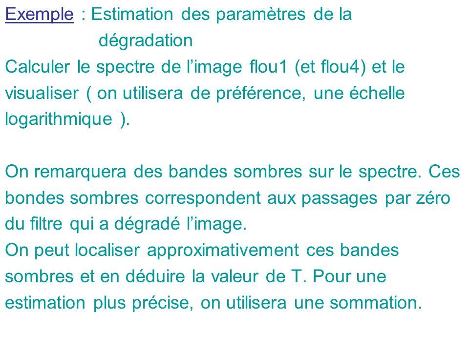 Exemple : Estimation des paramètres de la dégradation Calculer le spectre de limage flou1 (et flou4) et le visualiser ( on utilisera de préférence, un