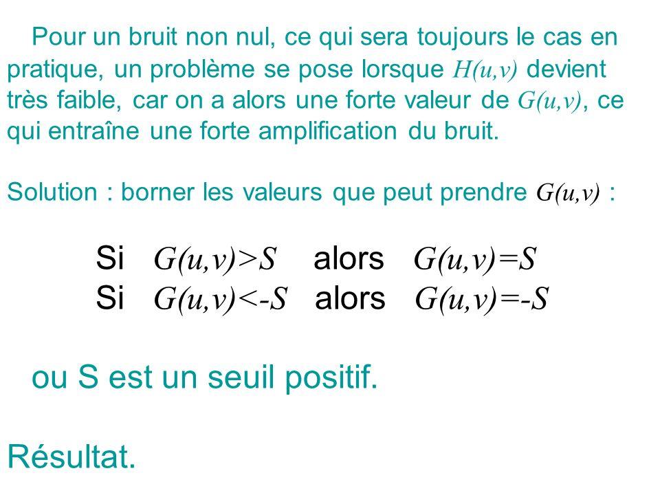 Pour un bruit non nul, ce qui sera toujours le cas en pratique, un problème se pose lorsque H(u,v) devient très faible, car on a alors une forte valeu