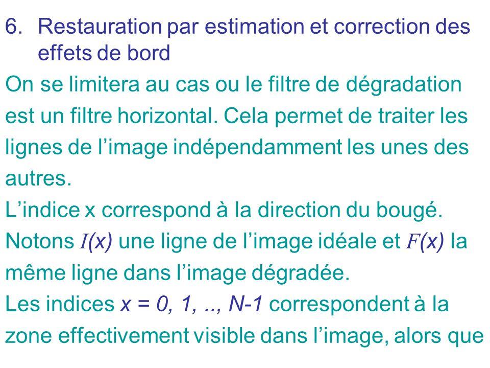 6.Restauration par estimation et correction des effets de bord On se limitera au cas ou le filtre de dégradation est un filtre horizontal. Cela permet