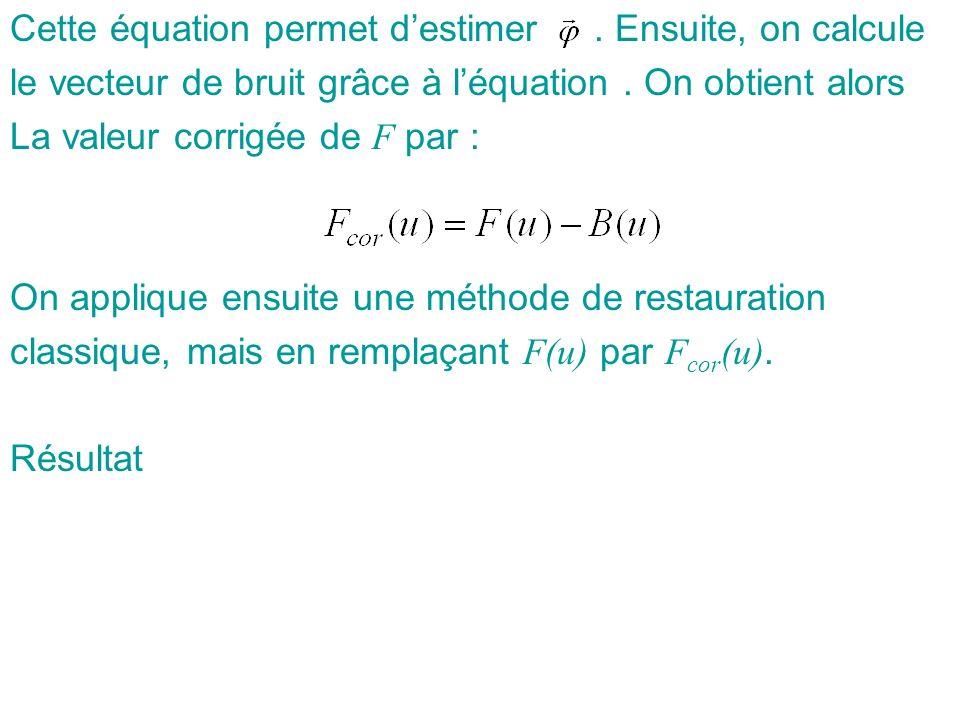Cette équation permet destimer. Ensuite, on calcule le vecteur de bruit grâce à léquation. On obtient alors La valeur corrigée de F par : On applique