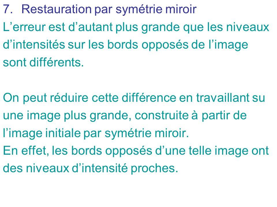 7.Restauration par symétrie miroir Lerreur est dautant plus grande que les niveaux dintensités sur les bords opposés de limage sont différents. On peu
