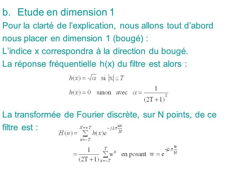 Après démonstration, on pourra déduire que : T = (1/2)*(kN/u k -1) Généralisation au cas à deux dimensions Si on néglige le bruit, léquation montre que le spectre de limage dégradée est le produit du spectre de limage idéale par la transformée de Fourier du filtre de dégradation.