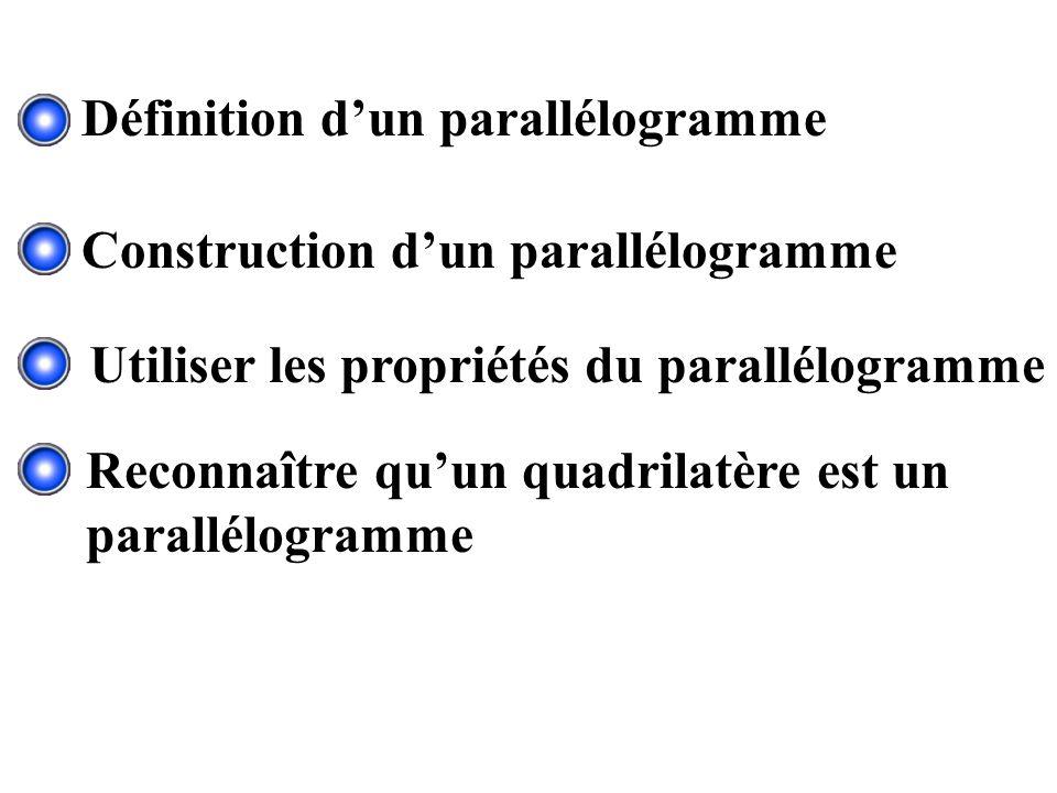 Utiliser les propriétés du parallélogramme Reconnaître quun quadrilatère est un parallélogramme Définition dun parallélogramme Construction dun parall