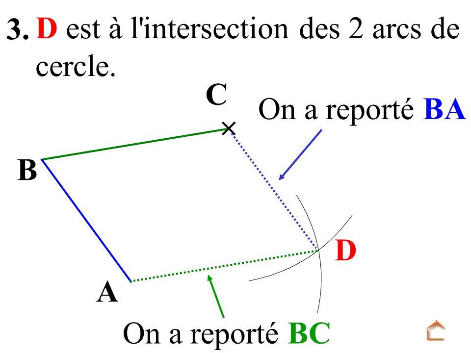 B A C D est à l'intersection des 2 arcs de cercle. D On a reporté BA On a reporté BC 3.
