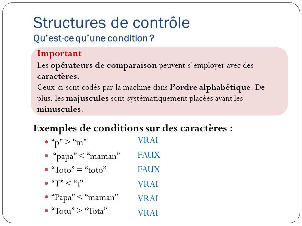 Structures de contrôle Quest-ce quune condition ? Exemples de conditions sur des caractères : p > m papa < maman Toto = toto T < t Papa < maman Totu >