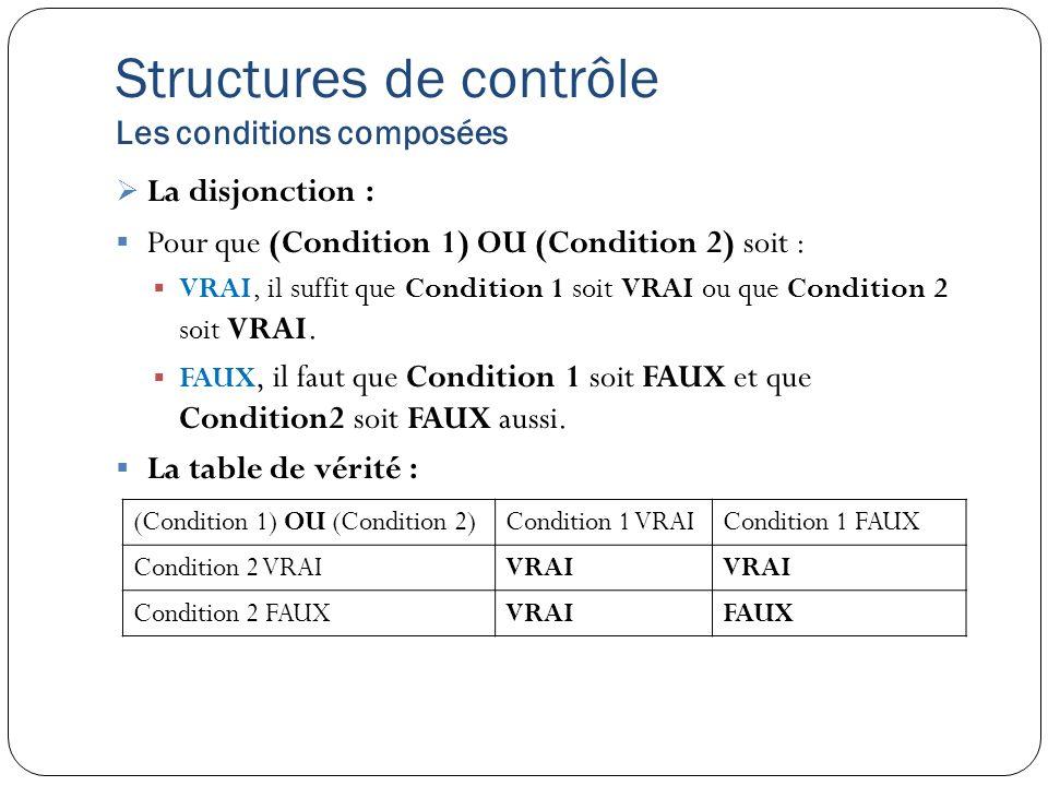 Structures de contrôle Les conditions composées La disjonction : Pour que (Condition 1) OU (Condition 2) soit : VRAI, il suffit que Condition 1 soit V