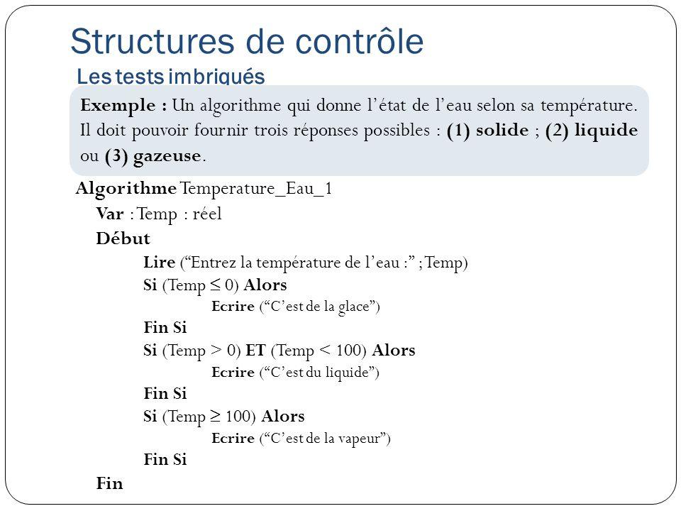 Algorithme Temperature_Eau_1 Var : Temp : réel Début Lire (Entrez la température de leau : ; Temp) Si (Temp 0) Alors Ecrire (Cest de la glace) Fin Si