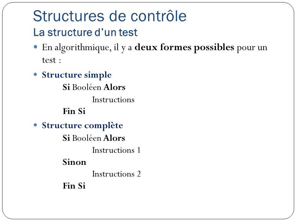 Structures de contrôle La structure dun test En algorithmique, il y a deux formes possibles pour un test : Structure simple Si Booléen Alors Instructi