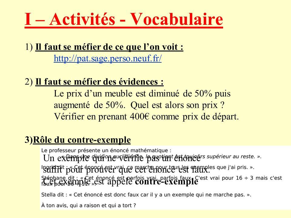 I – Activités - Vocabulaire 1) Il faut se méfier de ce que lon voit : http://pat.sage.perso.neuf.fr/ 2) Il faut se méfier des évidences : Le prix dun