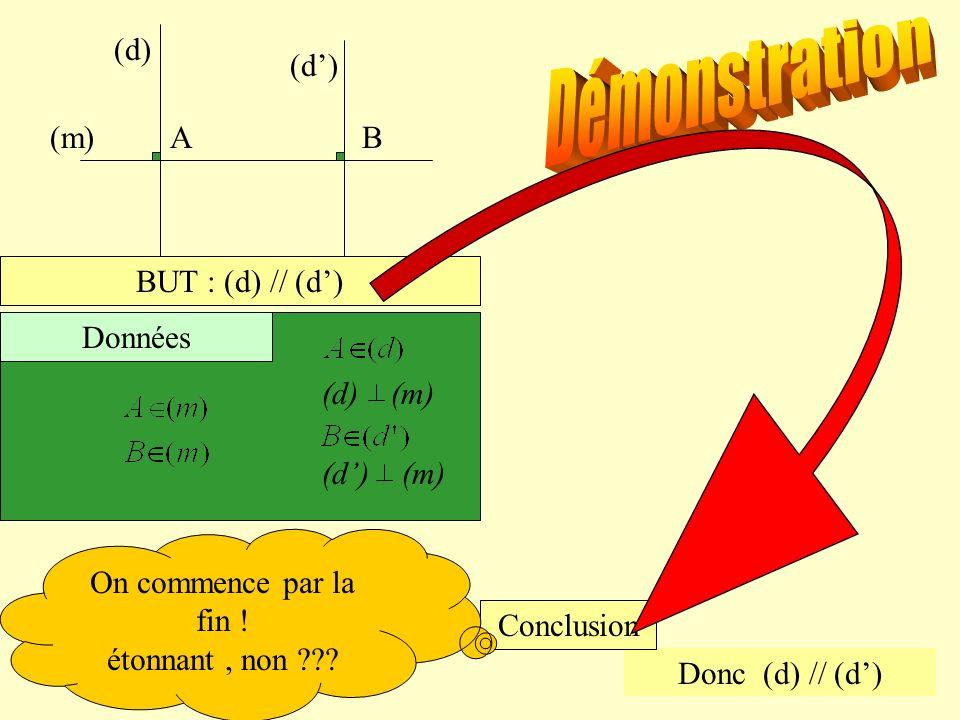 (m)AB (d) BUT : (d) // (d) (d) (m) Données Donc (d) // (d) Conclusion On commence par la fin ! étonnant, non ???