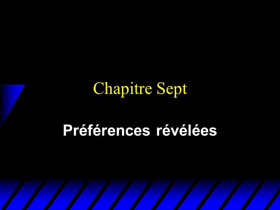 Chapitre Sept Préférences révélées