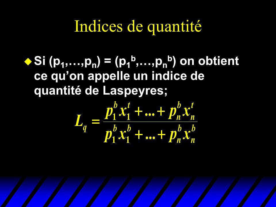 Indices de quantité u Si (p 1,…,p n ) = (p 1 b,…,p n b ) on obtient ce quon appelle un indice de quantité de Laspeyres;