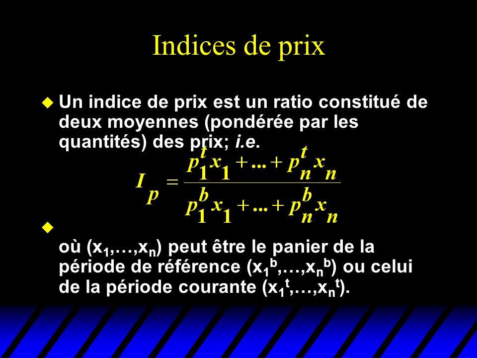 Indices de prix u Un indice de prix est un ratio constitué de deux moyennes (pondérée par les quantités) des prix; i.e.