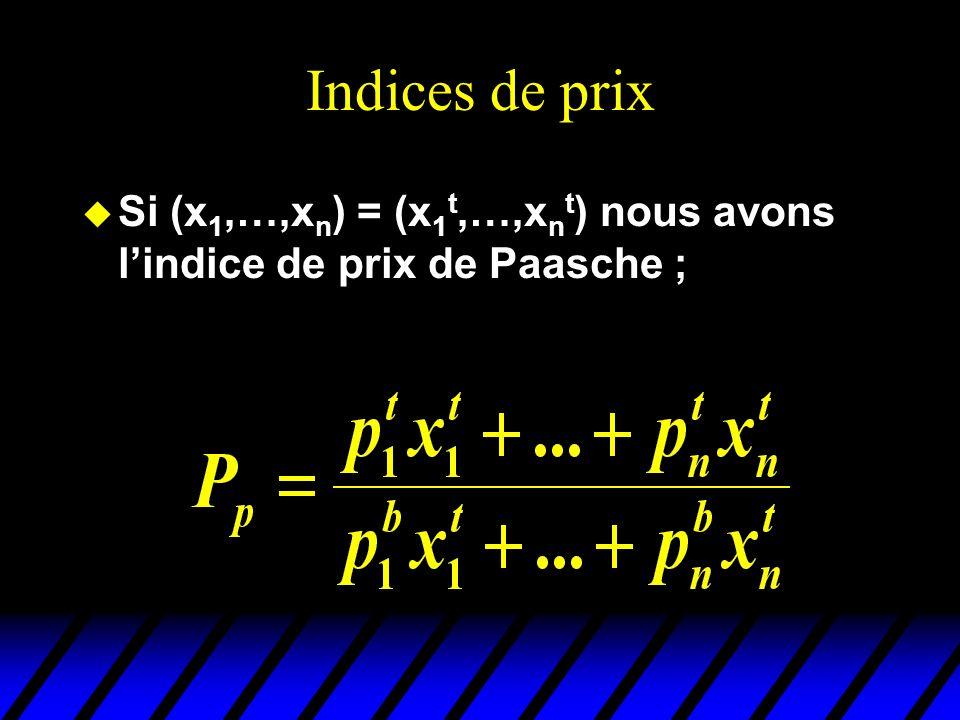 Indices de prix u Si (x 1,…,x n ) = (x 1 t,…,x n t ) nous avons lindice de prix de Paasche ;