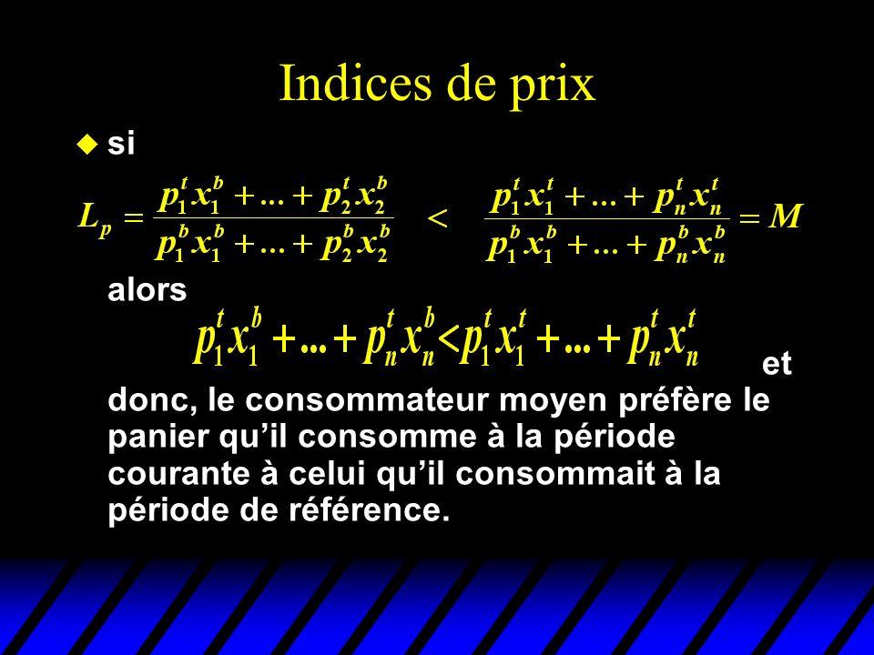 Indices de prix u si alors et donc, le consommateur moyen préfère le panier quil consomme à la période courante à celui quil consommait à la période de référence.