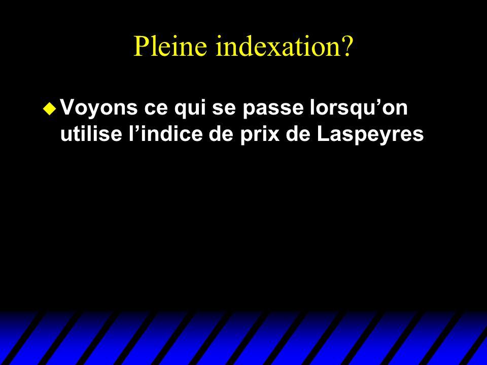 Pleine indexation u Voyons ce qui se passe lorsquon utilise lindice de prix de Laspeyres