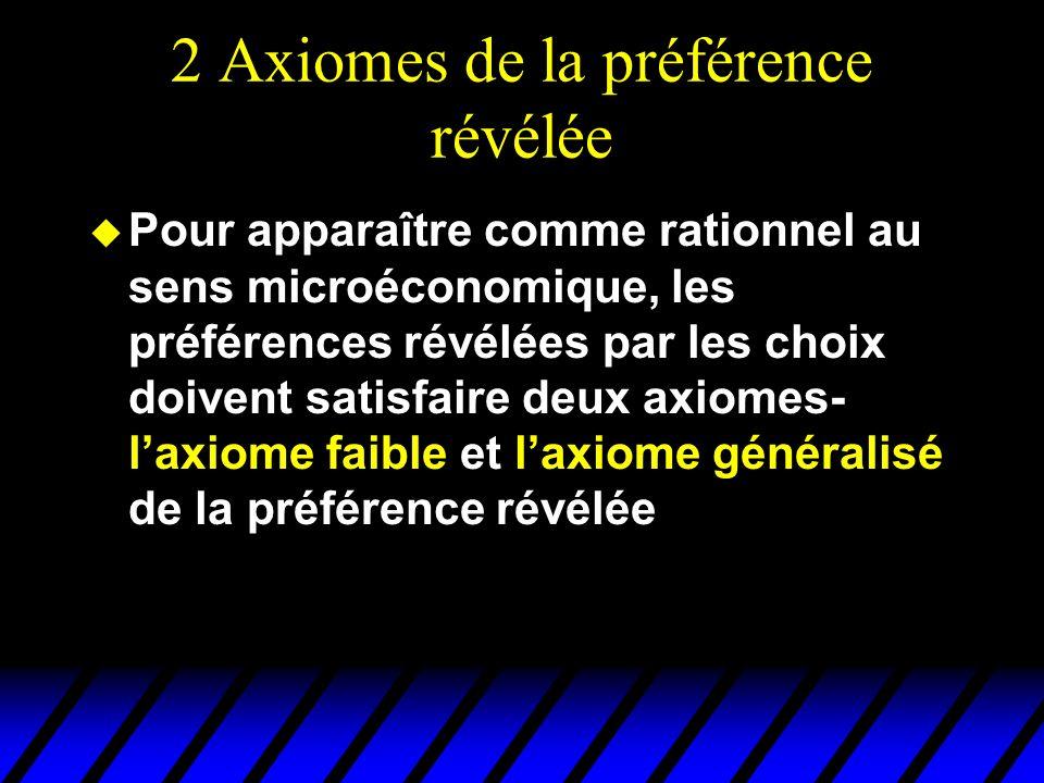 2 Axiomes de la préférence révélée u Pour apparaître comme rationnel au sens microéconomique, les préférences révélées par les choix doivent satisfaire deux axiomes- laxiome faible et laxiome généralisé de la préférence révélée
