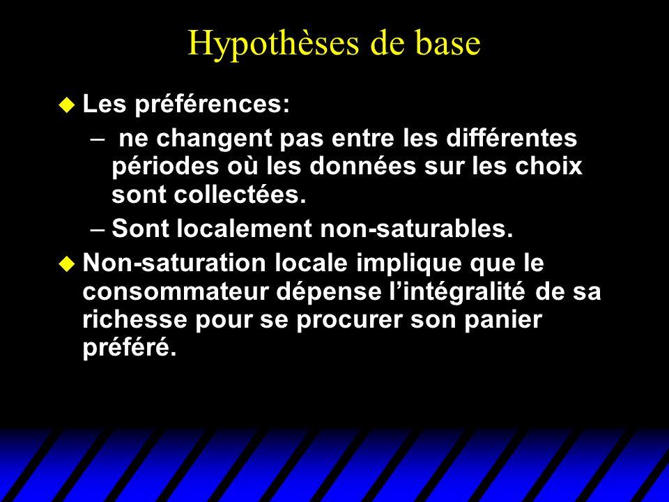 Hypothèses de base u Les préférences: – ne changent pas entre les différentes périodes où les données sur les choix sont collectées.